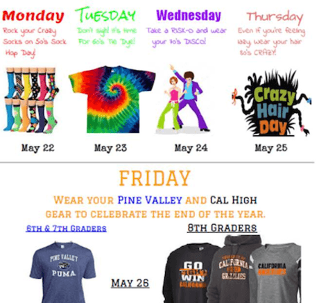 Spirit Week: May 22-26